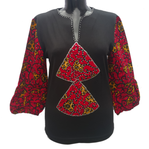 Afrikoncept 'Dahlia' Black and Red Blouse
