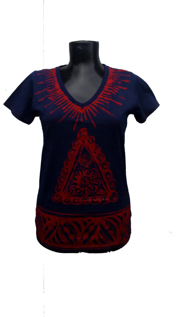 Afrikoncept 'Hibiscus' Blue and Red Blouse