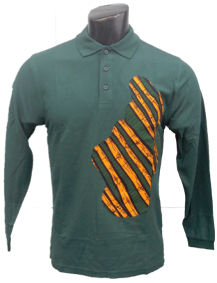 Afrikoncept 'Monarda' Green Collared Long Sleeve Shirt
