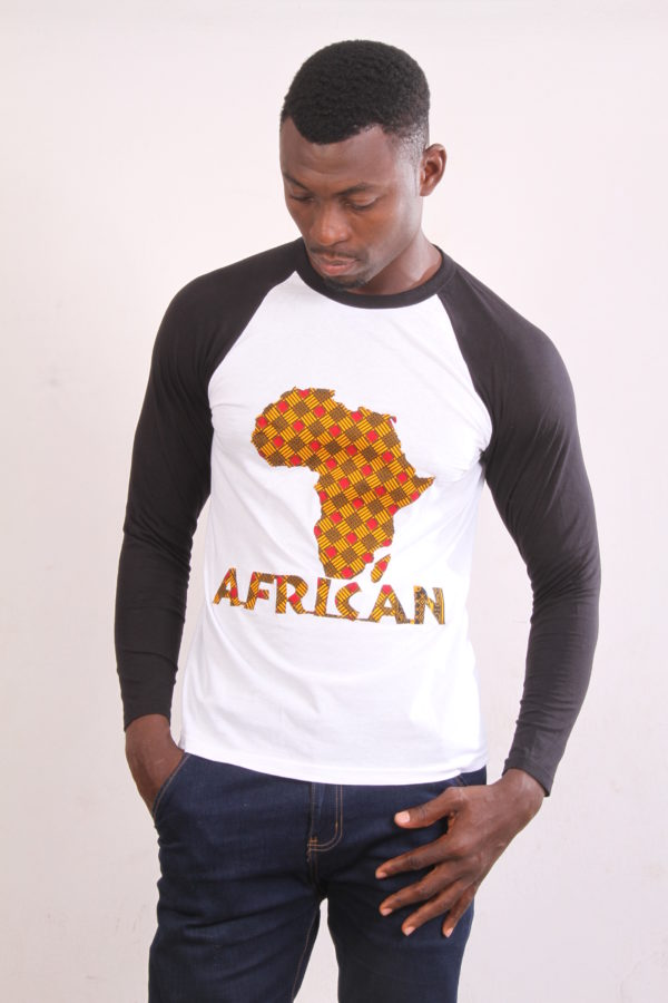 Afrikoncept 'Muscari' Black and White Long Sleeve Shirt w/ Africa Logo