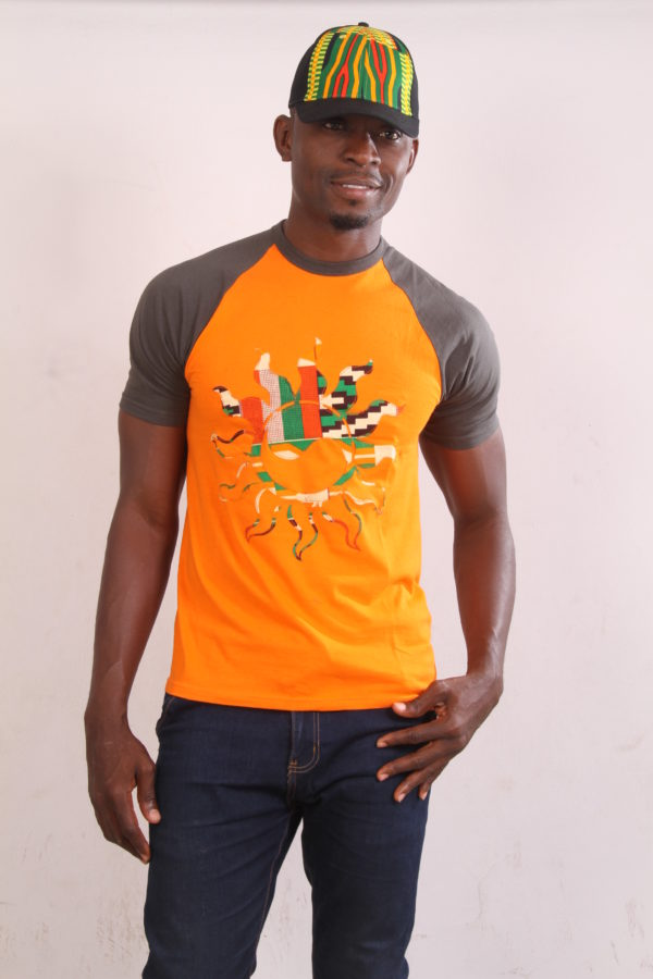 Afrikoncept 'Muscari' Orange and Grey T-Shirt