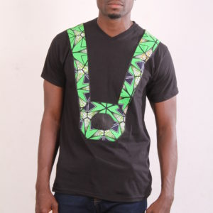 Afrikoncept 'Orchid' Black and Green T-Shirt