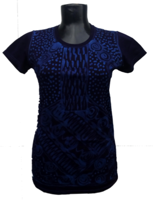 Afrikoncept 'Batik' Blue and Black Blouse