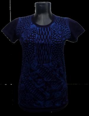 Afrikoncept 'Batik' Blue and Black Blouse