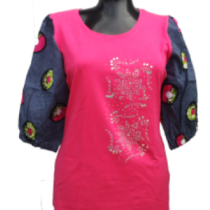 Afrikoncept 'Lily' Pink and Grey Blouse