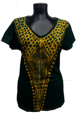 Afrikoncept 'Batik' Black and Gold Blouse